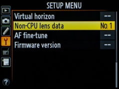 Nikon Non-CPU lens data menu
